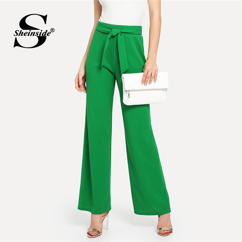 052f26ec619 2019 Sheinside Plain Green High Waist Casual Wide Leg Pants Office Ladies  Self Tie Waist Regular Fit 2018 Women Autumn Elegant Pants From Honhui