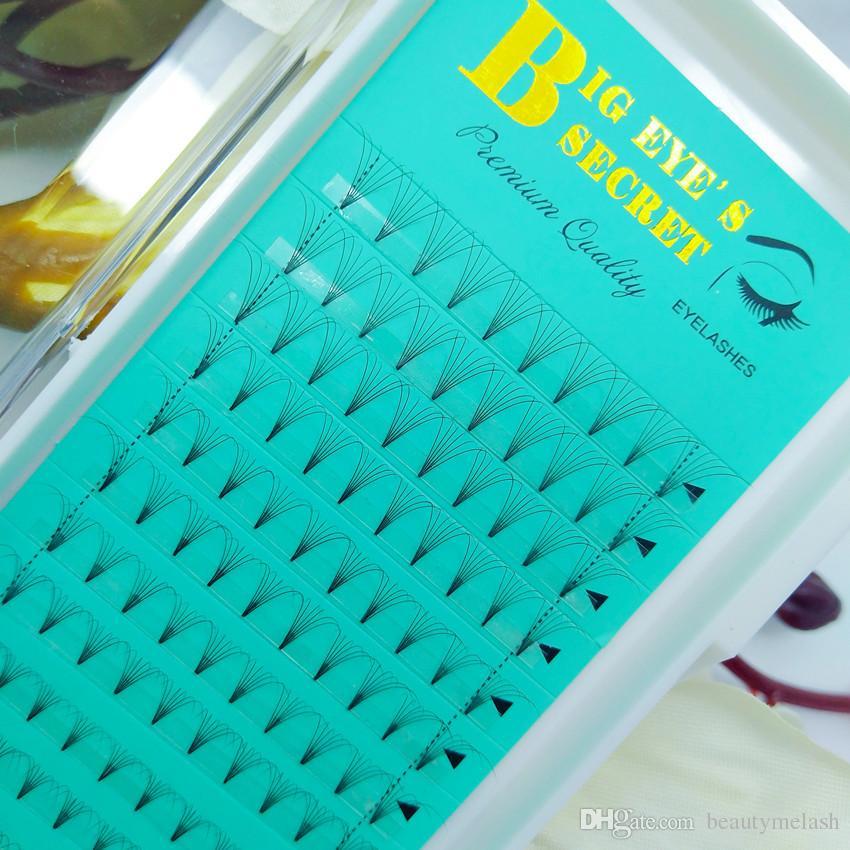BigEye'S SECRET Lashes 12 Linien Tray Vorgefertigte Volume Lash Fans 6D Short Stem russische Band Mink Eye Lashes Einzelwimpernverlängerung