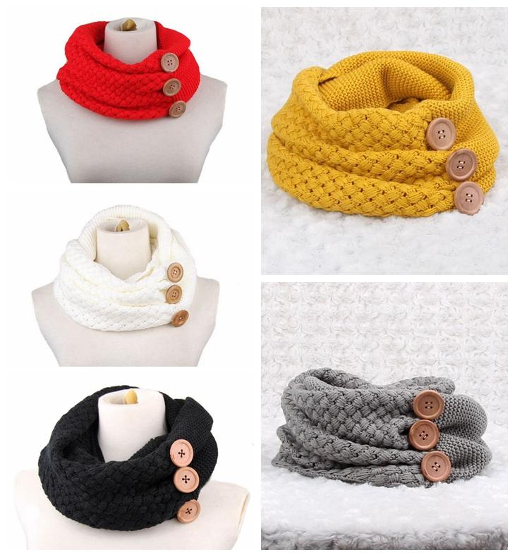 2019 Winter Warm Knit Infinity Scarf Luxury Women Solid Color