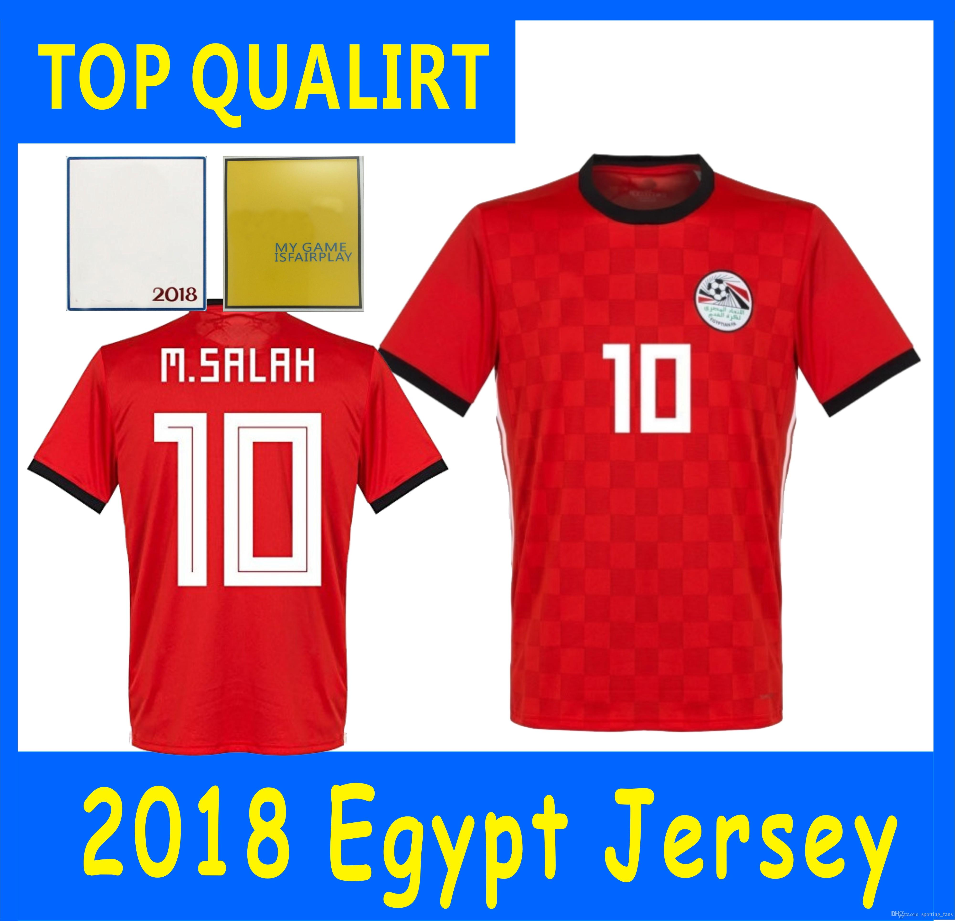 aa195e8b0a3 2019 ADD PATCHES !!TOP Thailand Quality Egypt Soccer Jerseys 2018 World Cup  Jersey Mohamad M SALAH Home Red Soccer Jersey Football Soccer Shirt From ...