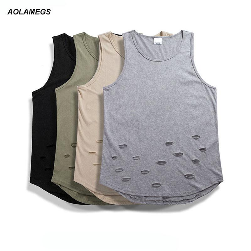 baab8d195502f9 2019 Aolamegs Tank Tops Men Fashion Ripped Holes Vest Solid Color High  Street Wear Tops Tee Summer Beach Casual Sleeveless T Shirts From Jst2015