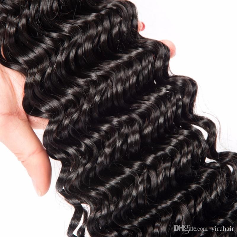 Capelli crudi indiani indiano onda profonda 2 bundles wiith 360 pizzo frontale colore naturale indiano capelli umani wefts con chiusura frontale da Yiruhair