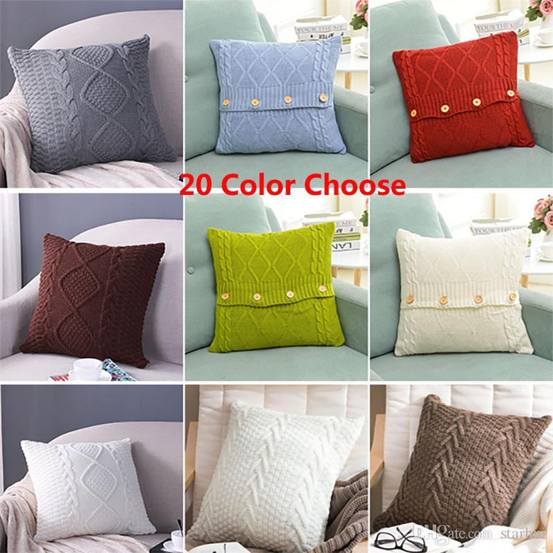 20 Designs Knitted Pillow Case Cover European Crochet Button Chevron
