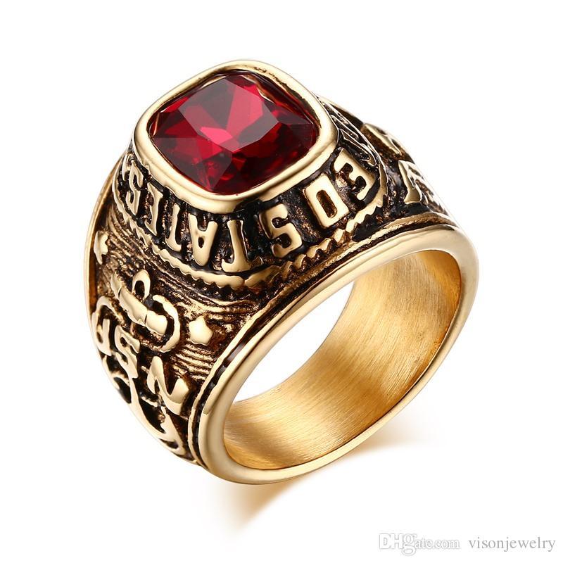Paslanmaz Çelik Amerika Birleşik Devletleri Yüzükler Taşlı Altın Vintage Döküm Erkek Yüzüğü Antika Finish