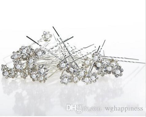 Wholesale Korean Style Women Wedding Accessories Bridal Pearl Hairpins Flower Crystal Rhinestone Hair Pins Clips Bridesmaid Hair Jewelry