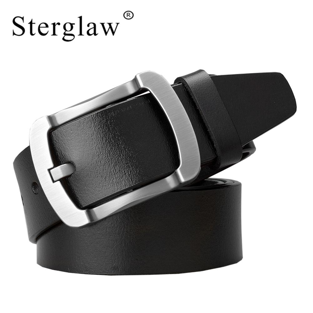 8214ddec1786 STERGLAW Cowhide Genuine Leather Belts For Men Brand Strap Male Pin Buckle  Vintage Jeans Belt 100 125 Cm Long Waist Belt C244 Maternity Belt Leather  Belt ...