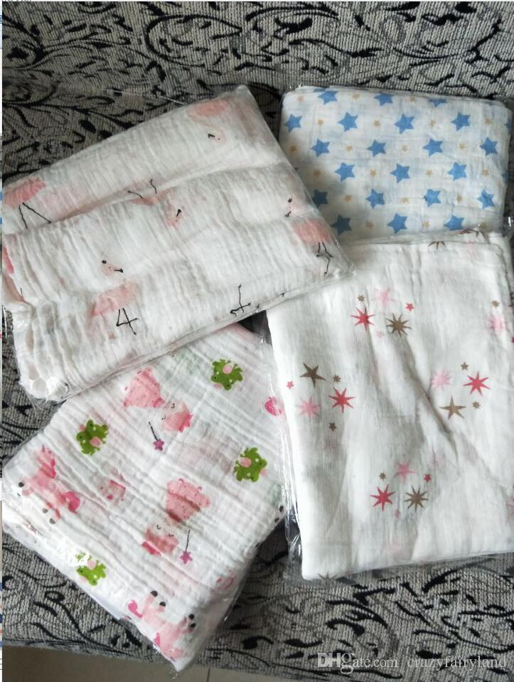 Baby Swaddles Muslin Cotton Soft Newborn Blankets Bath Gauze Infant Wrap sleepsack Stroller cover Play Mat DHL