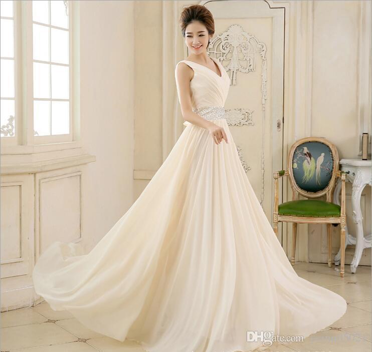 5608dacfb0168 Vestido De Festa New Arrival Long Sleeve V Neck Chiffon Backless Beaded  Prom Dress Floor Length Special Occasion Dress