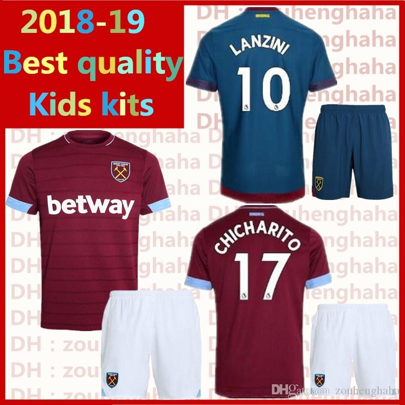 Compre West Ham Uniforme De Futebol Uniforme Infantil 2018 2019 Home Away  CHICHARITO LANZINI NOBLE Camisolas De Futebol Infantil Suite De  Zouhenghaha 23e240525c5da