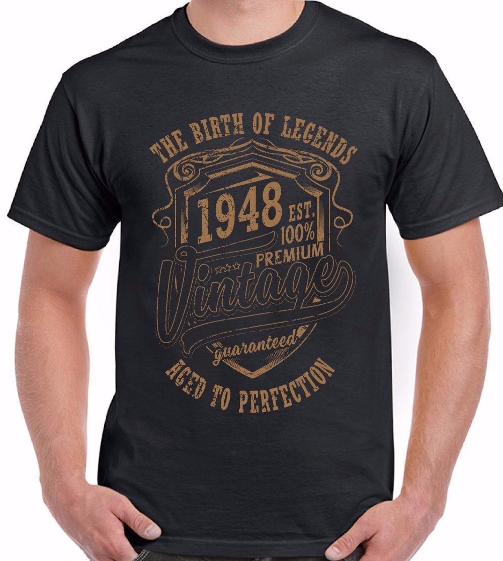 Großhandel Die Geburt Der Legenden 1948 Uomo 70 Compleanno T Shirt