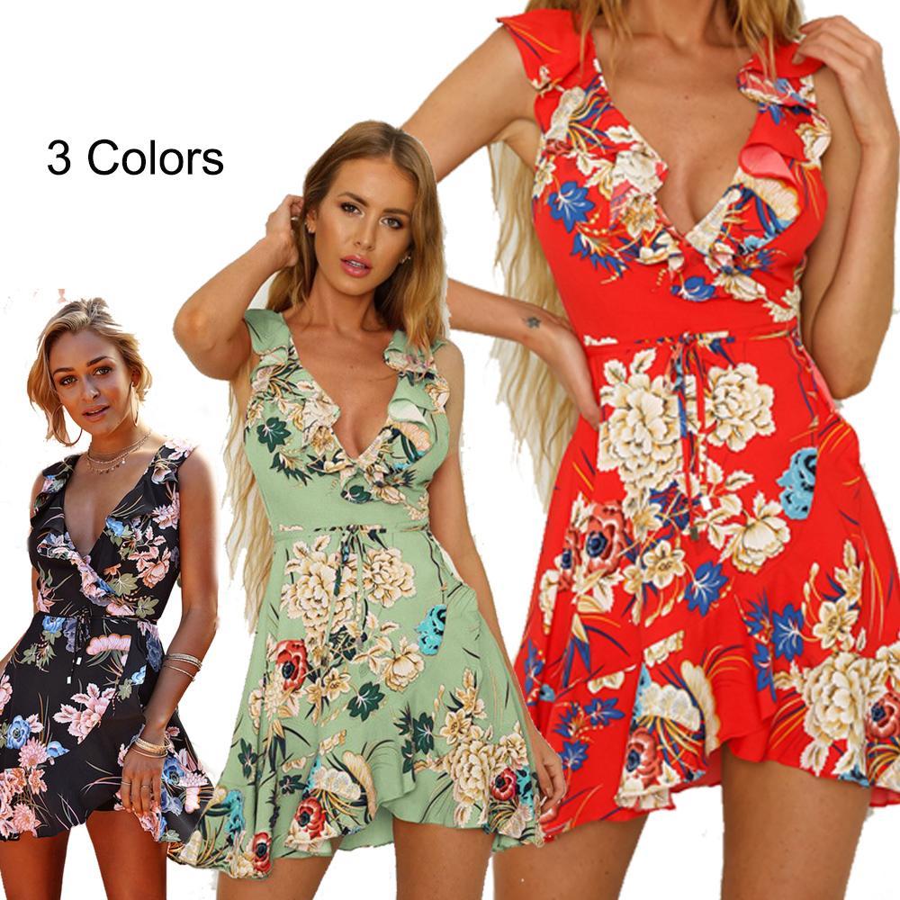 0838fb9081c Mini Dresses for Women with Deep V Neck Flouce Belt Floral Print Sleeveless  Ruffles Trim Bohemian Clothes Sundresses for Women Mini Dresses for Women  ...
