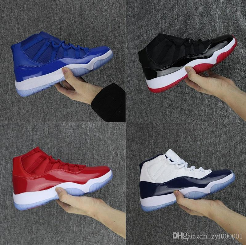 promo code 2ad80 fa548 Compre Zapatos Al Por Mayor De La Moda Nike Air Jordan 11 Retro Space Jam  Negros, Rojos, Azules Y Blancos Zapatos Respirables Zapatos Ocasionales De  Alta ...