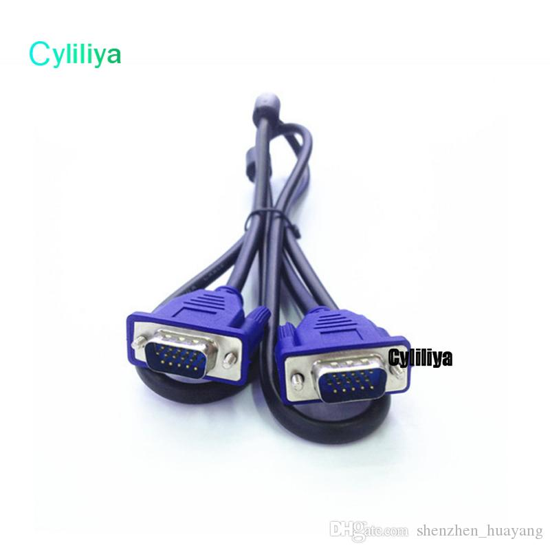 High Quality 1.5M 5FT 15PIN VGA HDB15 SUPER VGA SVGA Male To Male Connector Cable Cord Extension Monitor FOR PC TV