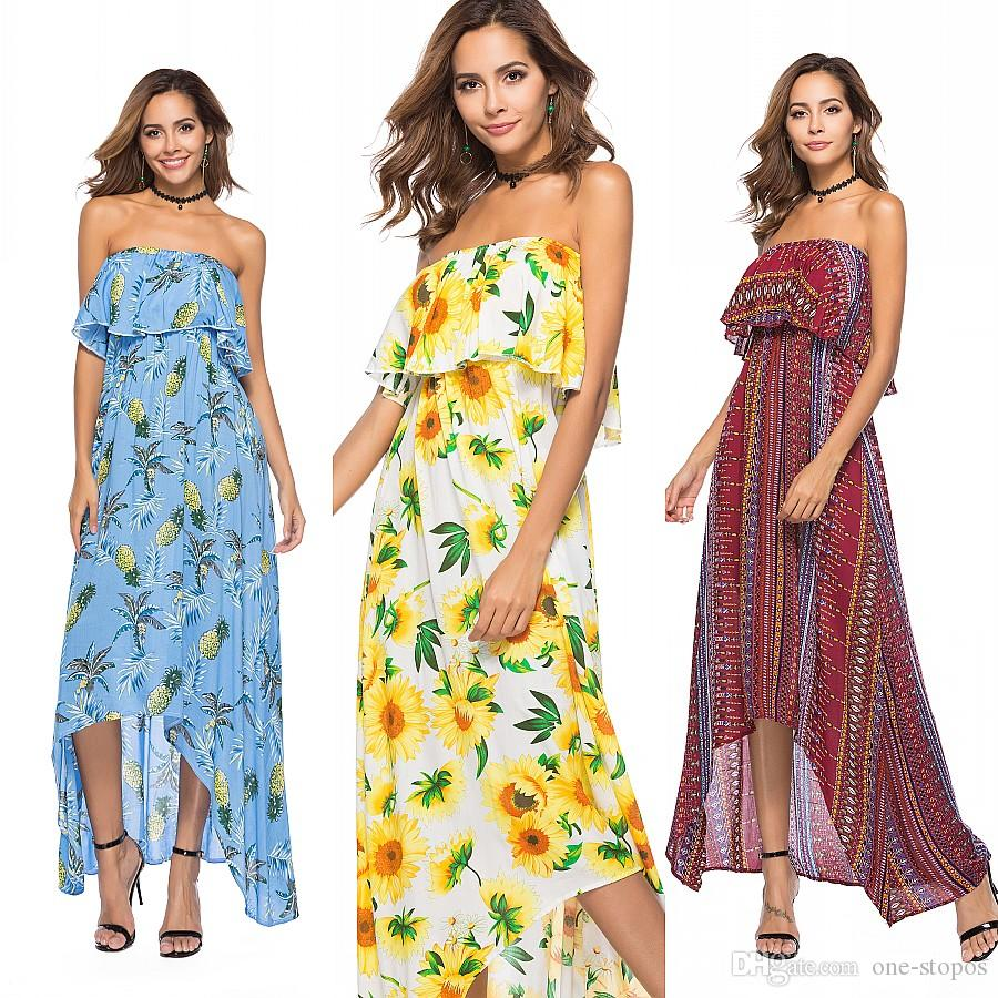 55a8304bbed 2018 Summer Floral Print Maxi Dresses Womens Beach Club Casual Loose Chiffon  Sleeveless Ruffle Long Plus Size Fashion Boho Clothes FS3475 Floral  Sundresses ...