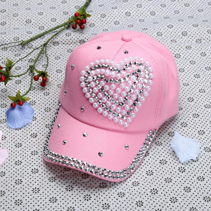 Women Rhinestone Baseball Cap Lady Heart Shape Bling Bling Diamond Hat  Children Girl Gorras Snapback Hip Hop Hat Casquette Kangol Baseball Caps  From ... 4b9d88c37db5