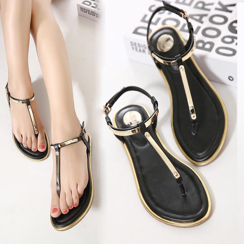 b93c6be5f00cb Spring And Summer Women Casual Sandals Simple Solid With Buckle Flat Sandals  T Tied With Soft Leather Beach Shoes For Female Wholesale Shoes Sandles  From ...