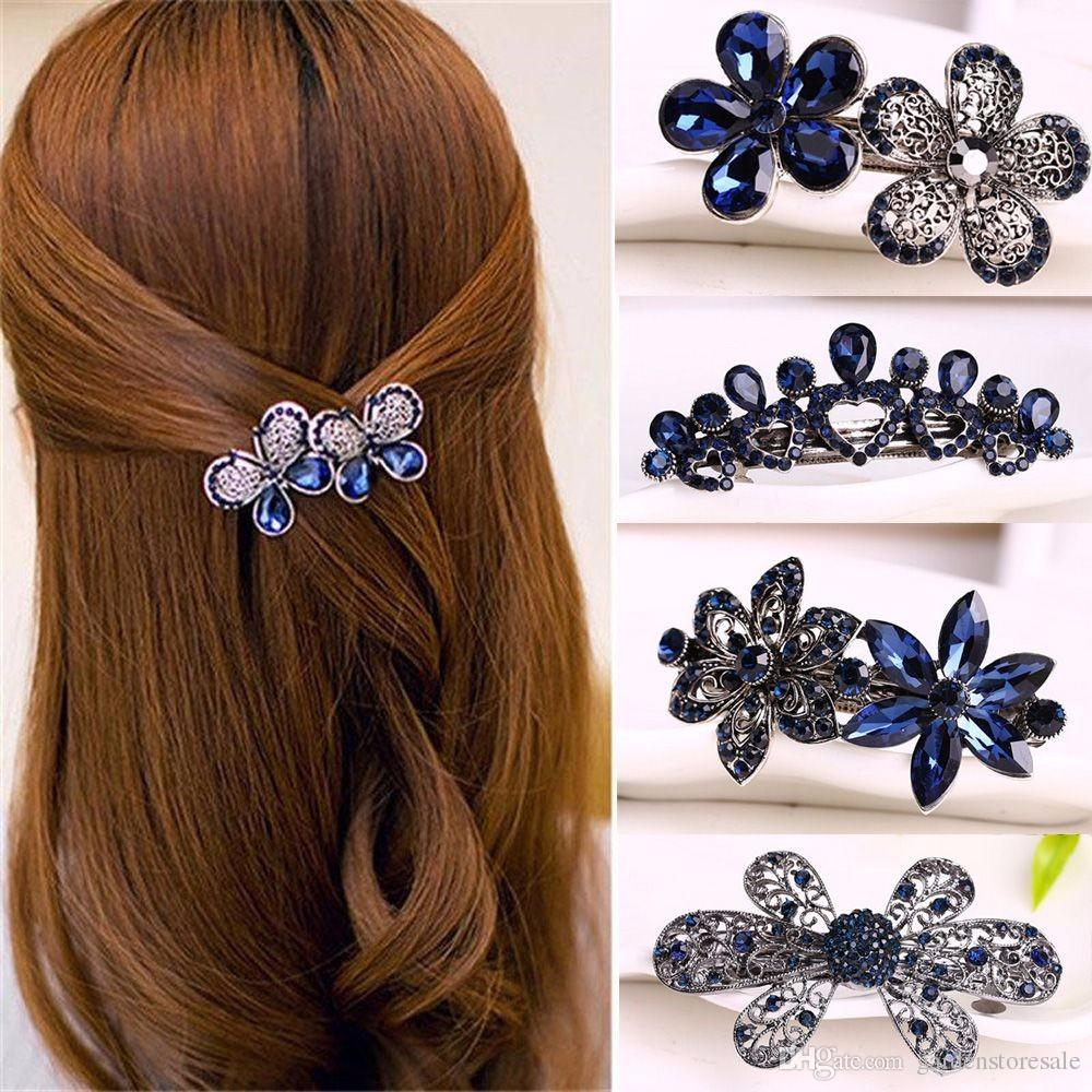Women Fashion Crystal Rhinestone Flower Hair Pin Ladies Girls Metals Barrette Butterfly Hair Clip Hair Accessories