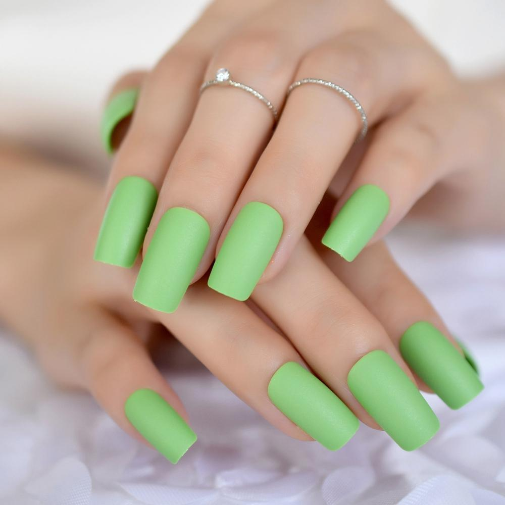 Frosted Instant Fake Nails Matte Green Square Nails Art DIY Tips ...