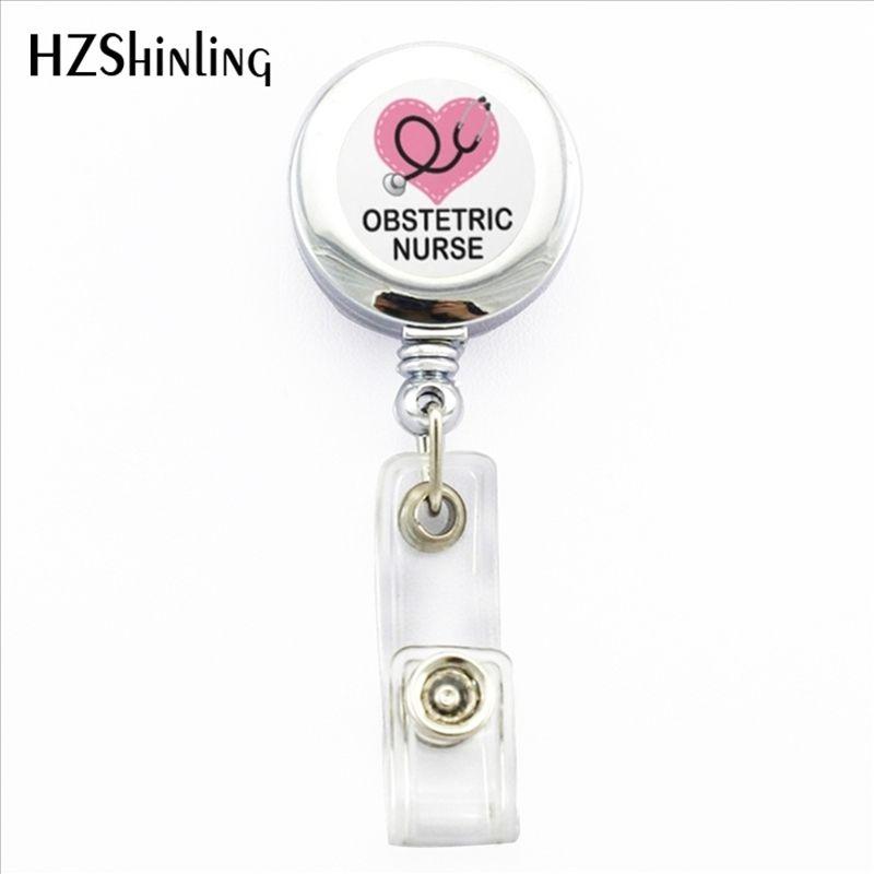 NBH-0033 New Obstetrics Nursing Badge Holder OB Nurse ID Holder Doctor  Bagde Reel Nurse Logo Photo ID Badge Holder