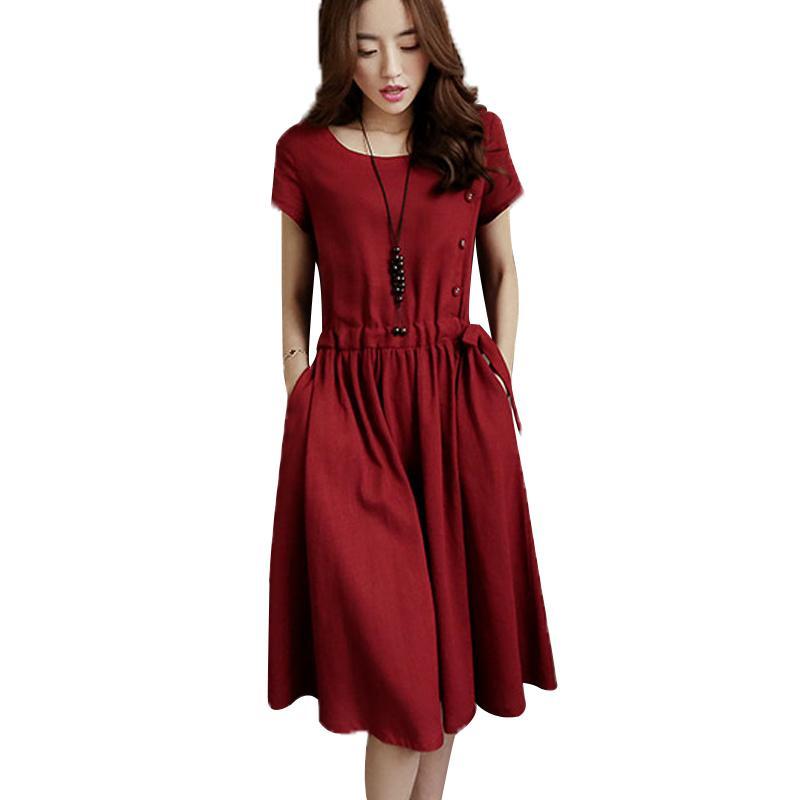 7d6efa3d78 Wholesale Cotton And Linen Dresses 2018 Summer Dress For Women Midi Solid  Color Short Sleeve Dress Spring Casual Vintage Dress Dress For Cocktail  Party Long ...