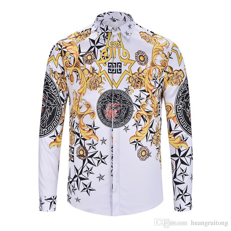 Designer Luxury Brand Men's Casual Long Sleeve Shirt ...