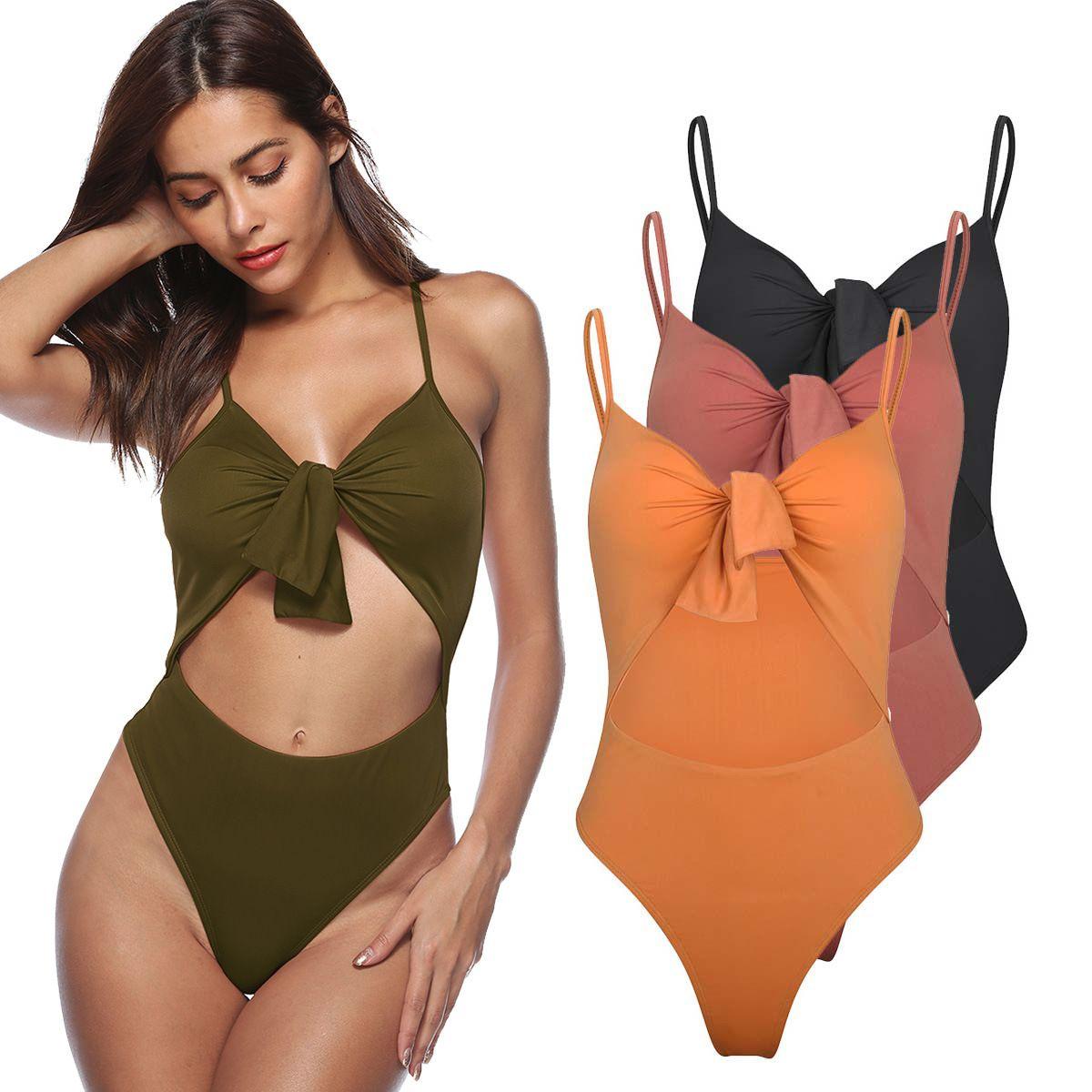 fd61372fb2 Biquini 2018 Vintage Striated Thong Bikini Set Strappy Bandage ...