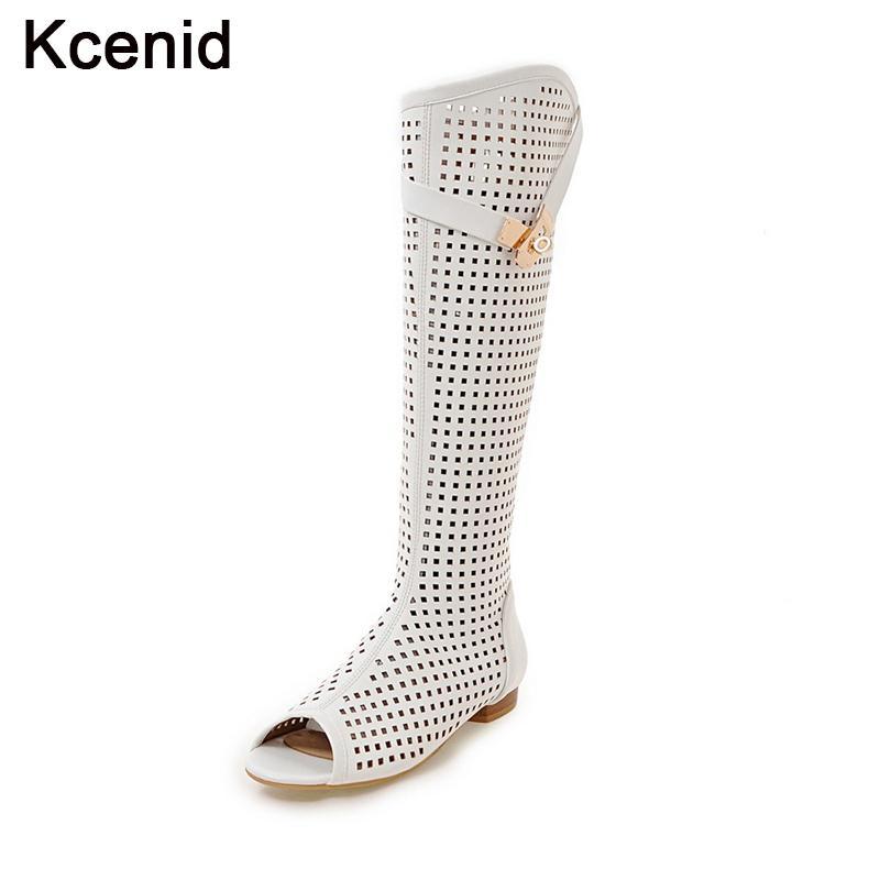 52d758adc3743 Großhandel Kcenid Plus Größe 34 47 Sommer Stiefel Sexy Ausgeschnittene  Kniehohe Stiefel Frauen Schuhe Peep Toe Schnalle Niedrigen Absatz Weiße  Dame Mode ...