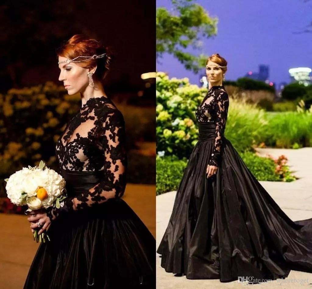 Gothic Black Long Sleeve Evening Dresses