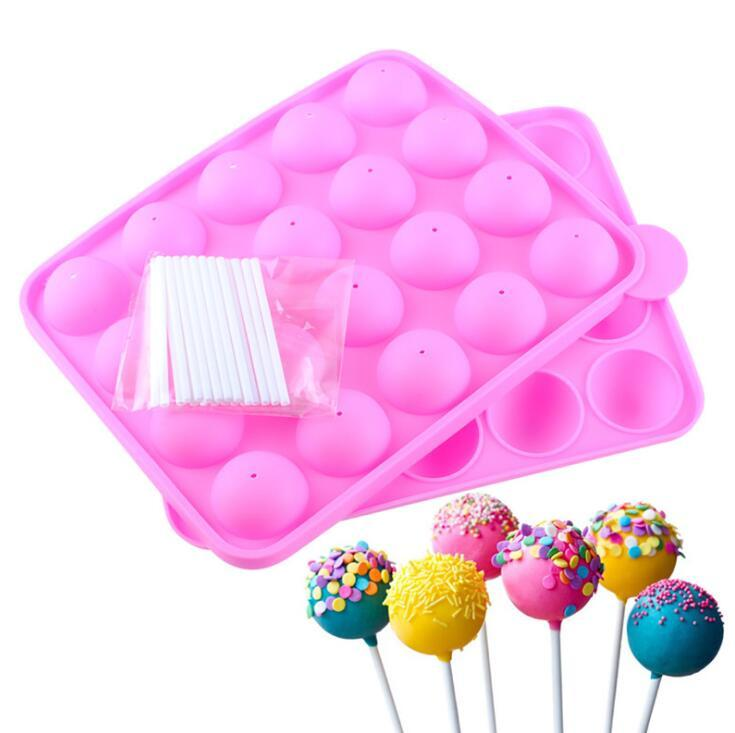 20pcs 20 Holes Silicone Non-stick Cake Pop Kit Silicone Lollipop Mold Cake Mold Baking Chocolate Ice Lattice Bakeware Mould +20 Sticks