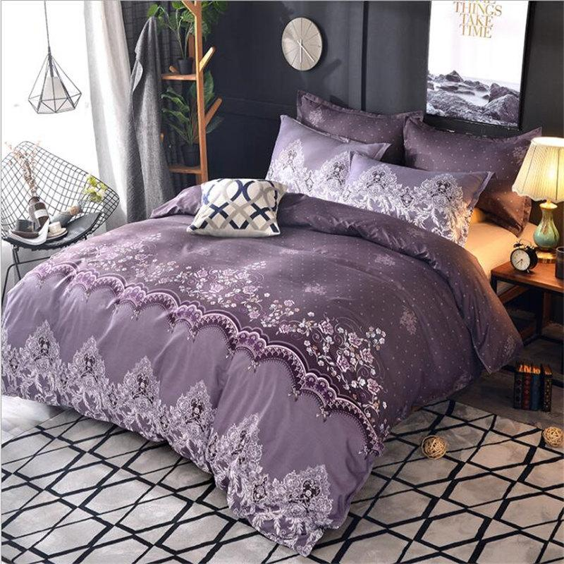 Bedding Set Pug Luxury Red Whilt Purple Duvet Cover Queen