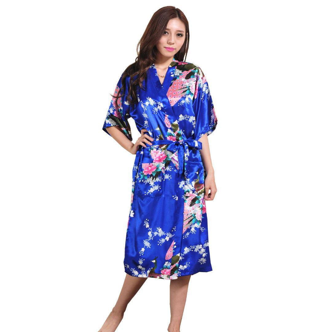 2018 Ladies\' Summer Long Cardigan Nightgown Thin Print Bathrobe ...