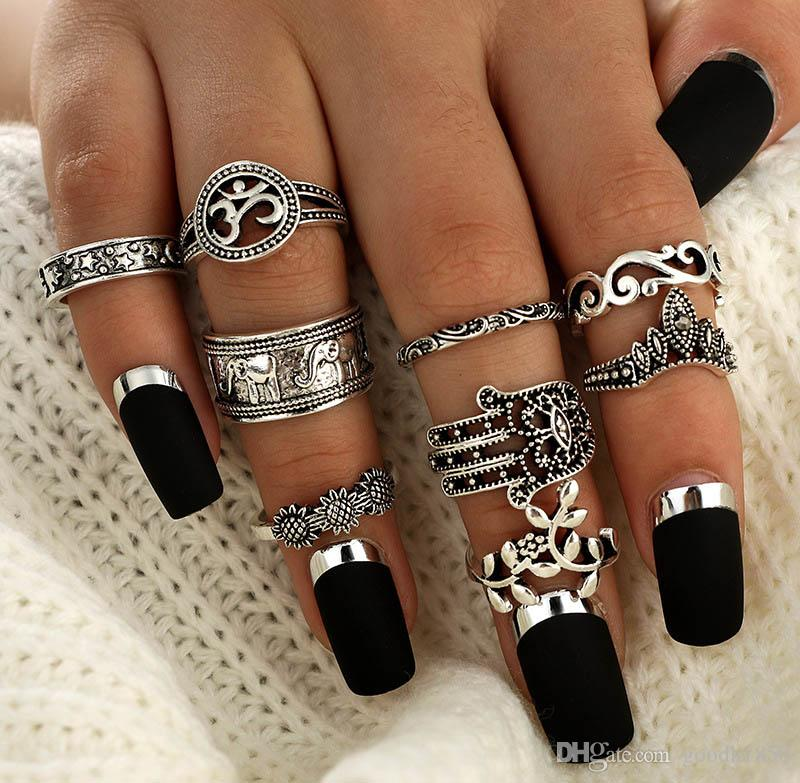 New Fashion combination 9 pcs finger rings sets,ethnic Baroque styles,nice metal electroplate ring sets colours choose