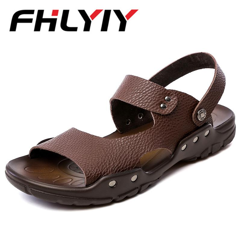 9e09c2285043 Men Casual Leather Sandals Shoes Summer Breathable Hole Flats Slipper  Sandals 2018 Leisure Shoes Man Zapatos Hombre Black Flat Sandals Strappy  Sandals From ...