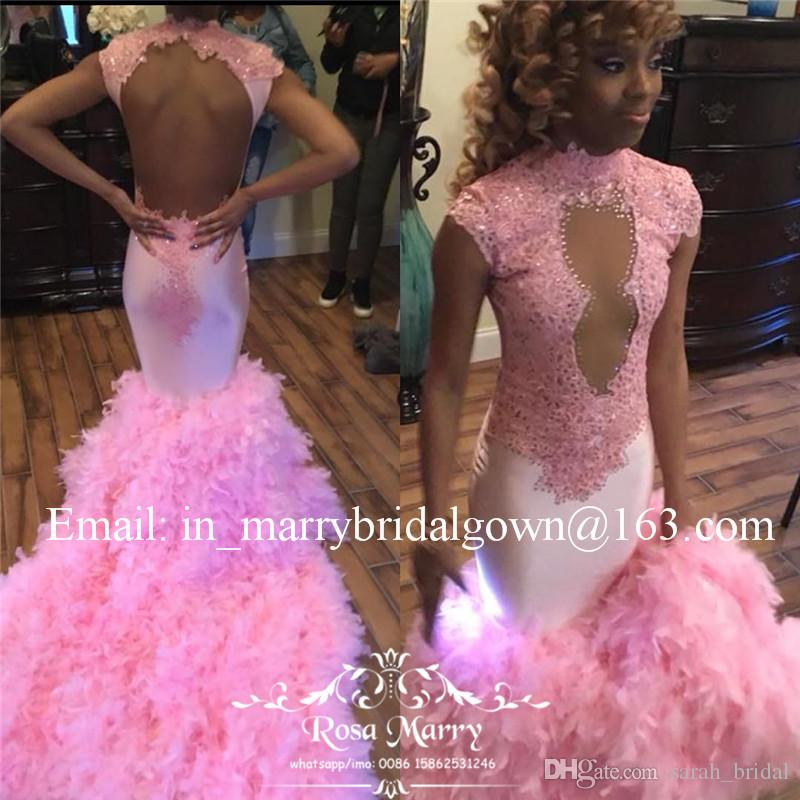 Sexy Pink Feather Mermaid 2K18 Prom Dresses High Neck Keyhole Backless Plus Size Lace Black Girl African Arabic Formal Evening Party Gowns