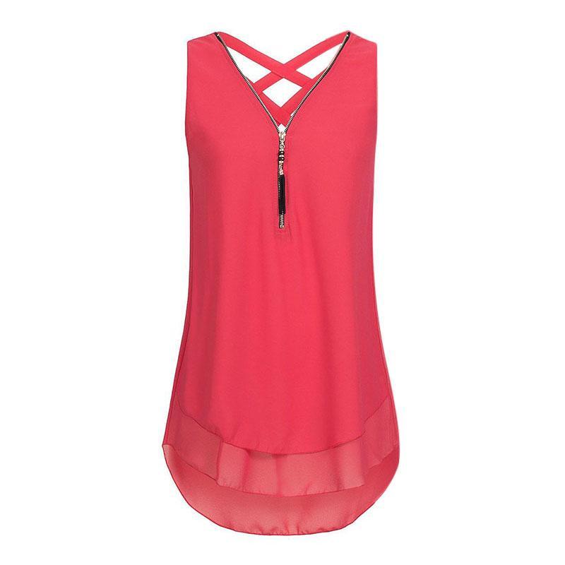 5b432acae9ef 2019 Women Sleeveless Zipper V Neck Shirt 2018 Summer Women Back Criss  Cross Chiffon Tops Blouse Shirt New Female Blusas Plus Size From Oott, ...