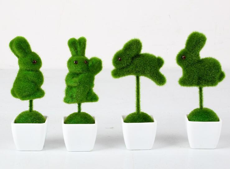 LOVE Rabbit Artificial Table Sculpted Topiary Plant Set with White Plastic Pots - Home Decorative Wedding Decoration