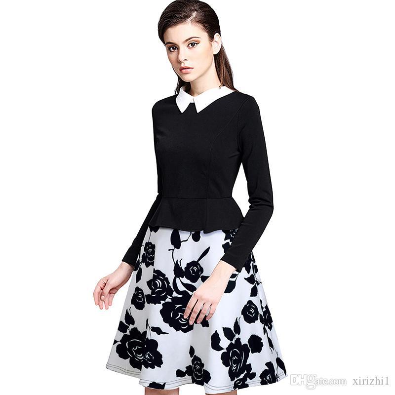 498ba6167 Compre Vestido Informal De Manga Larga Para Mujer Collar Elegante Estampado  Floral Vestido Negro Con Vestido De Bola Grande A  29.4 Del Xirizhi1