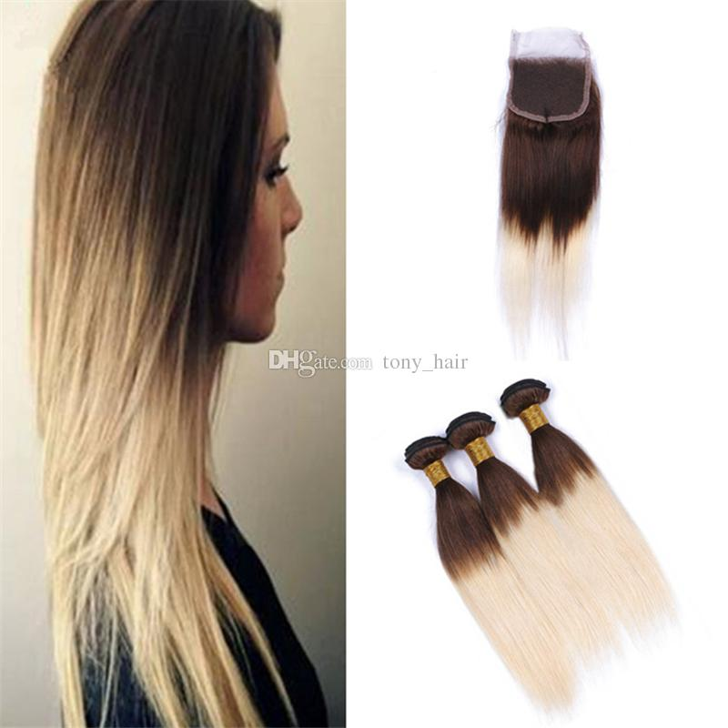 Light Brown To Blonde Ombre Straight Bundles With Closure Brown