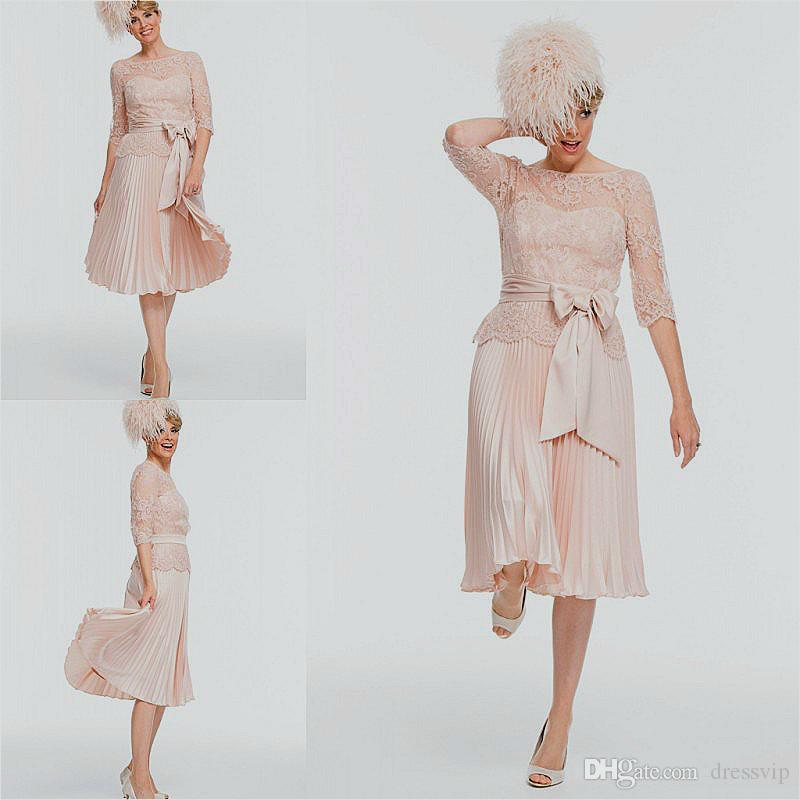6bf1797251af 2018 Newest Short Mother Of The Bride Dresses Lace Tulle Knee Length 3 4  Long Sleeves Mother Bride Dresses Short Prom Dresses Joan Rivers Suit  Mathar Son ...