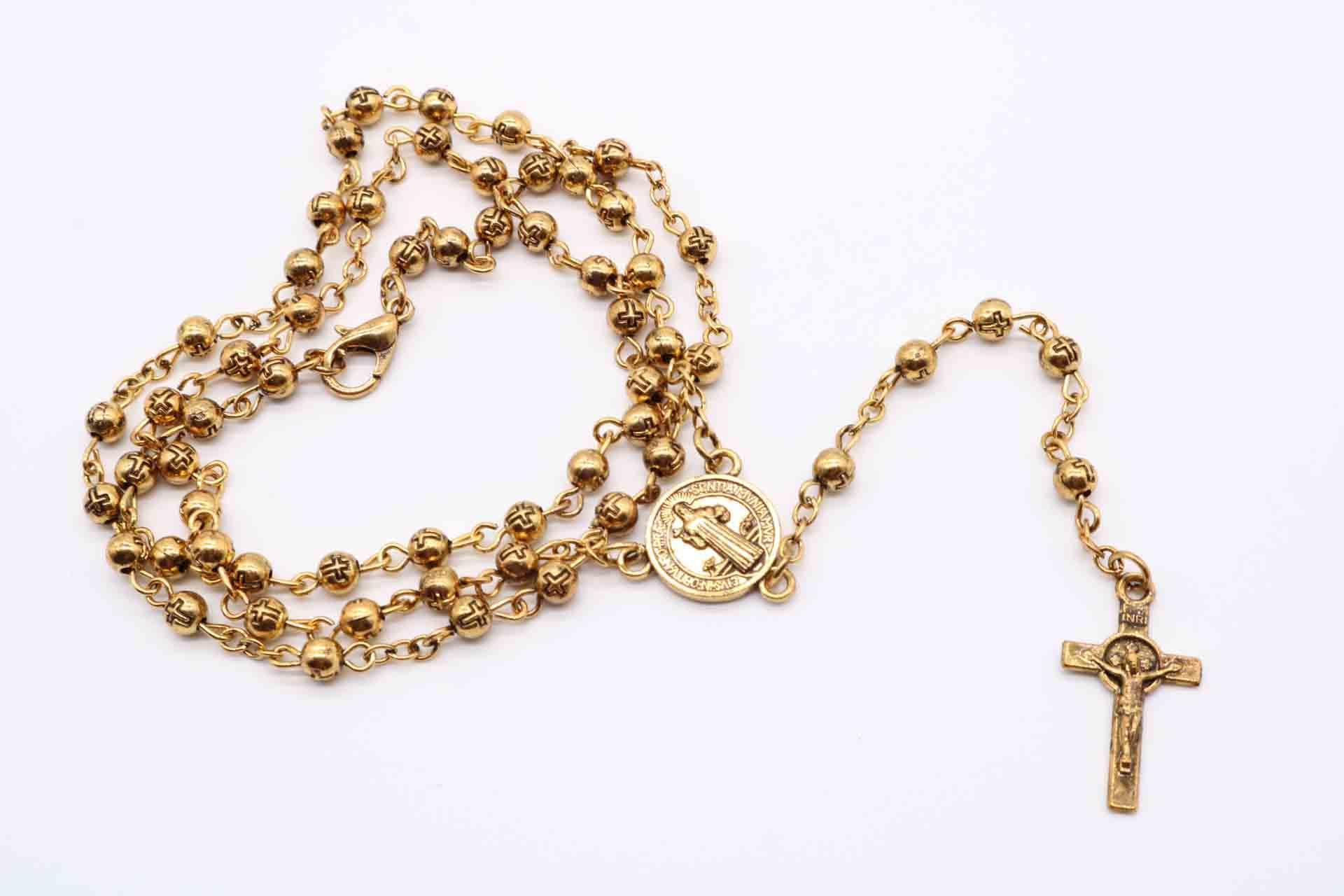 a48d9c56a7bd Collar de Rosario de cuentas de acero inoxidable de 4 mm, Rosario de plata  de cruz de Cristo Jesús, cadena larga Rosario.48pcs