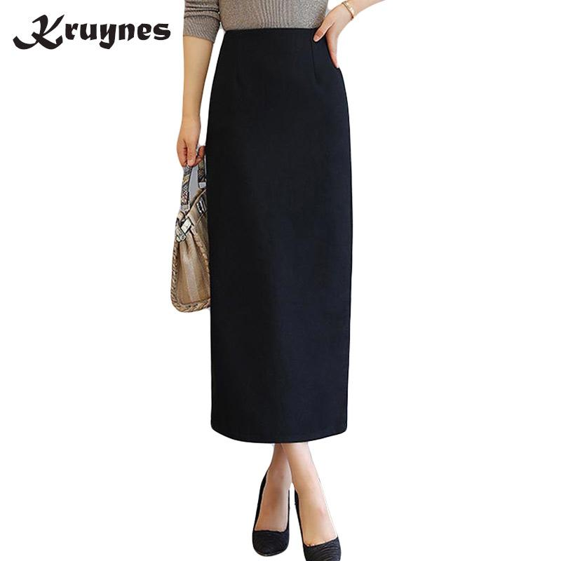 1ccb7c3519 2019 Ladies Elegant Winter Maxi Skirts Women Woolen Long Skirt High Waist  Wine Red Slim Split Ankle Length Wool Pencil Skirt Female From Vikey10, ...