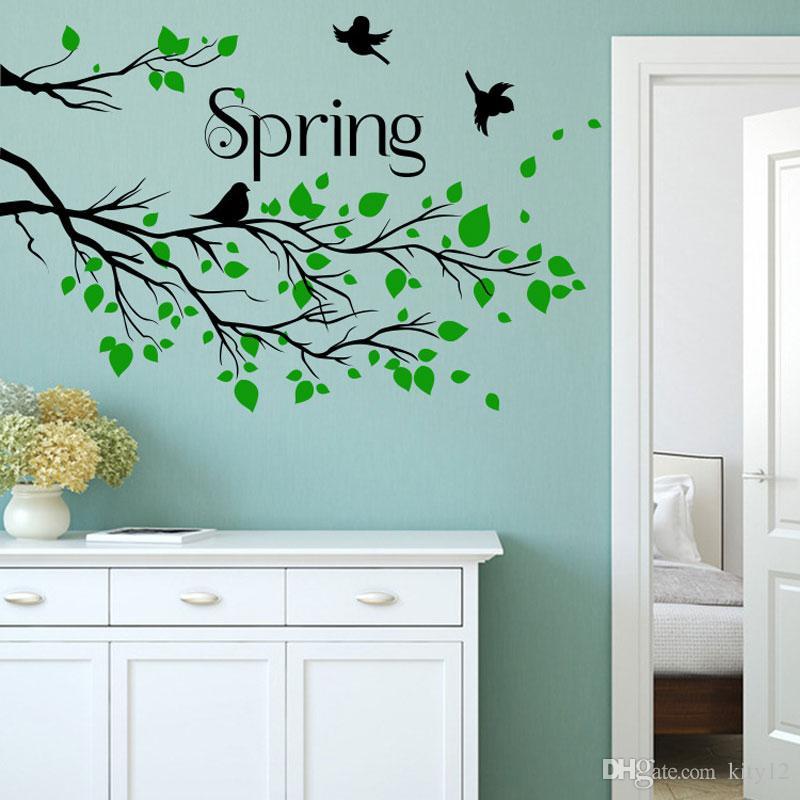 New Green Spring Wall Art Mural Decor Sticker Living Room Spring Landscape Decal Bird Branch Wall Poster