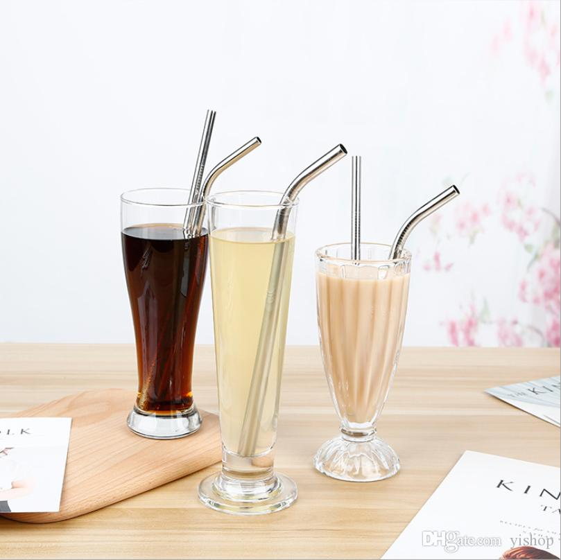 8.5inch Food Grade Stainless Steel Straw Reusable Drinking Straw Straight Drinking Tool Silicone Straw 215MM Eco-Friendly Sucker