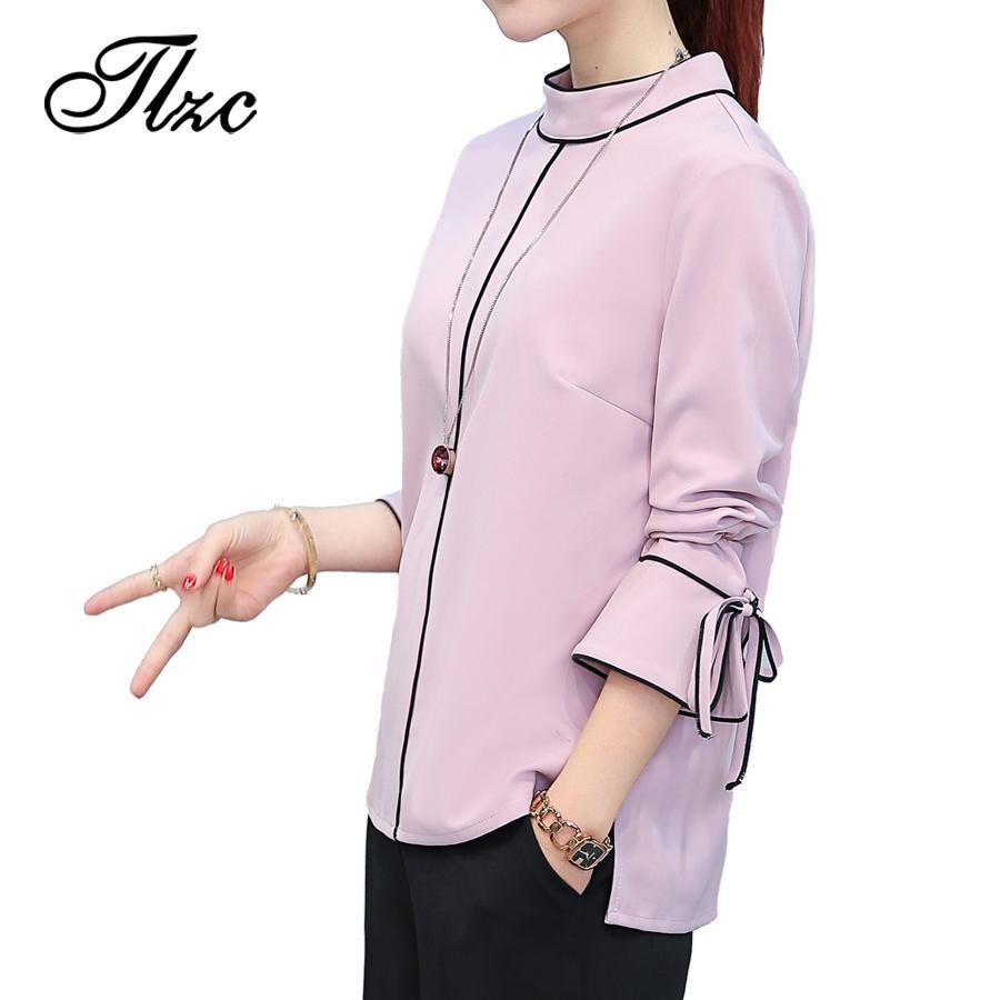 Розовый сладкий Леди блузка шифон топы размер S-2XL новый тренд Европа стиль элегантные женщины мода рубашки