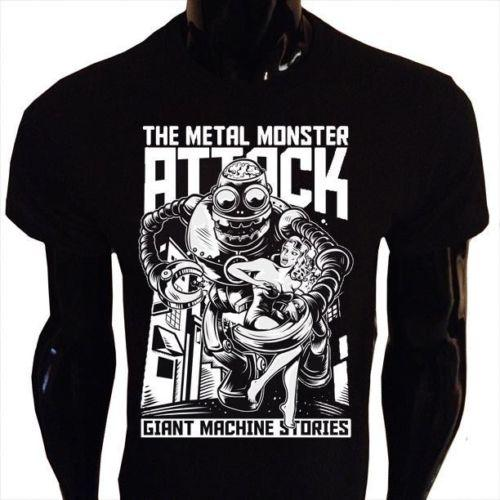 Details Zu Metallo Mostri Attack T Shirt Divertente Da Uomo Rétro Pin Up  Robot Maglietta Funny Free Long Sleeve Tee Shirts Design Your Own T Shirts  From ... ac408dd3c72