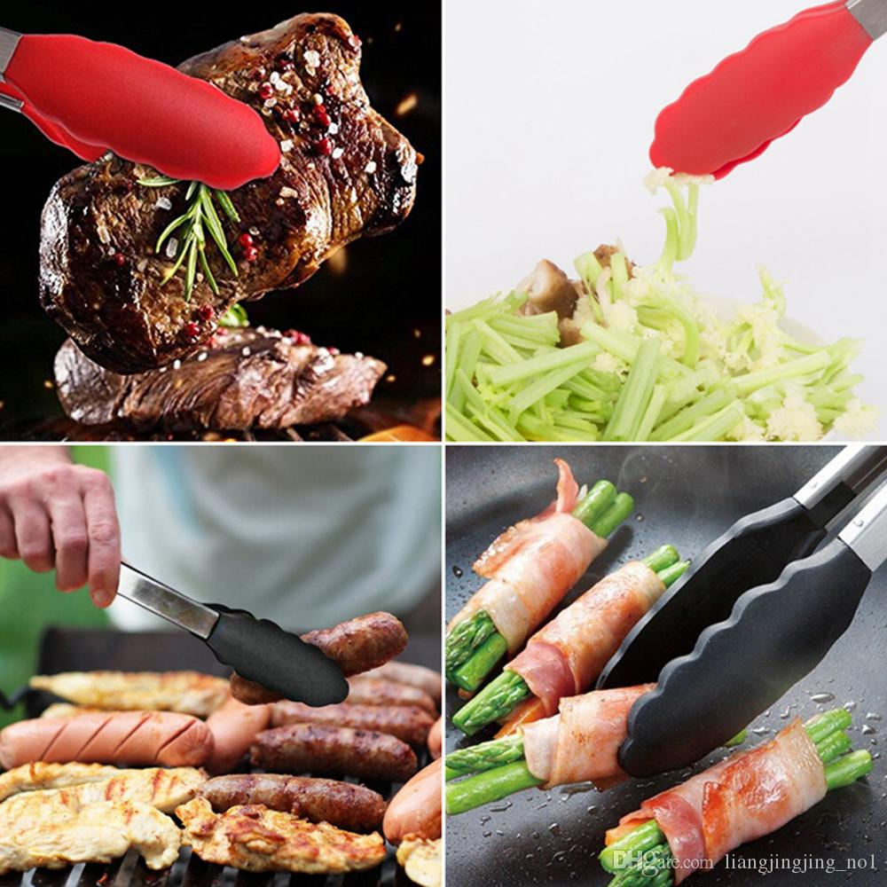 Stainless Steel Food Tongs Clamp Clip Salad Serving BBQ Heat Resistant Cooking Cake Bread Kitchen Handle Tool AAA272