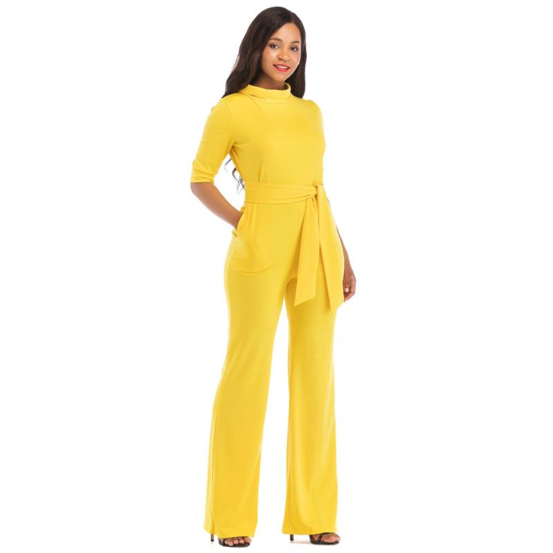 0439ec70cd87 2019 Elegant Jumpsuits For Women 2018 Half Sleeve Self Belt Plus Size Plus  Size High Waist Rompers Womens Jumpsuit Overalls Drop Ship From Peay