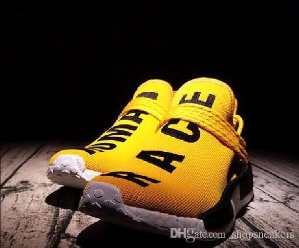 9aa9bcf31 2019 Online Sale Pharrell Williams Human Race Runner Yellow Red Black Blue  Grey Green White Men Women Classic Sport Sneakers Running Shoes From  Shopsneakers ...