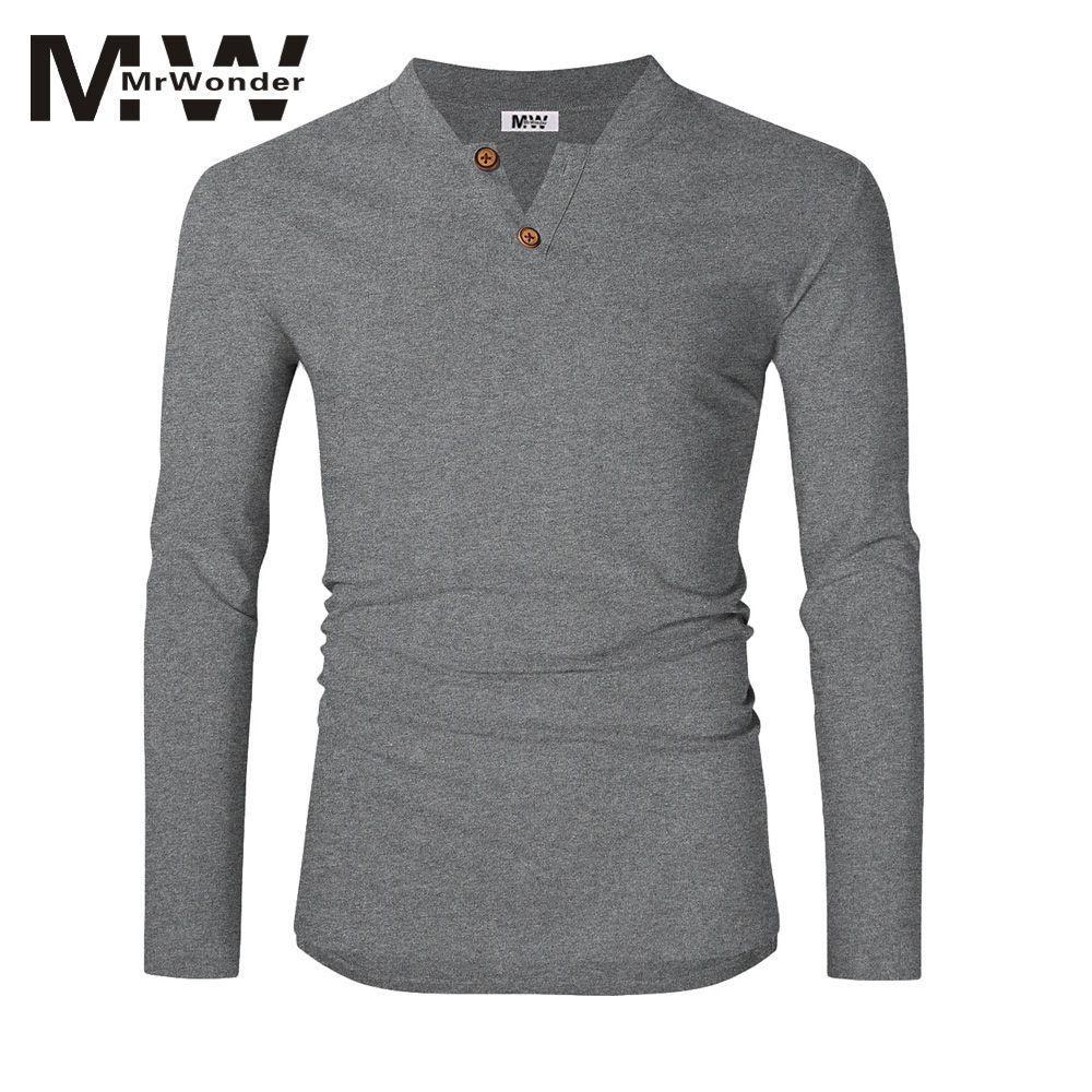 1cd1d82b152417 Wholesale Men S Long Sleeve T Shirts Casual Slim Fit Soft Cotton Henley Shirts  Plain Tees Shirts Solid V Neck Men Tops SAN0 Custom T Shirts T Shirt  Printing ...