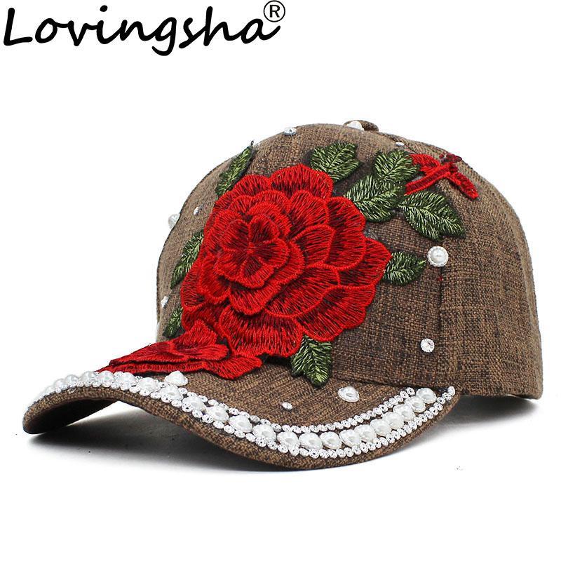 LOVINGSHA Rhinestones Baseball Cap Women Men Spring Floral Snapback Summer  Cap For Girl Fitted Autumn Adjustable Hat AD101 Flexfit Hats For Men From  Huazu 6af1dfa4ca2d